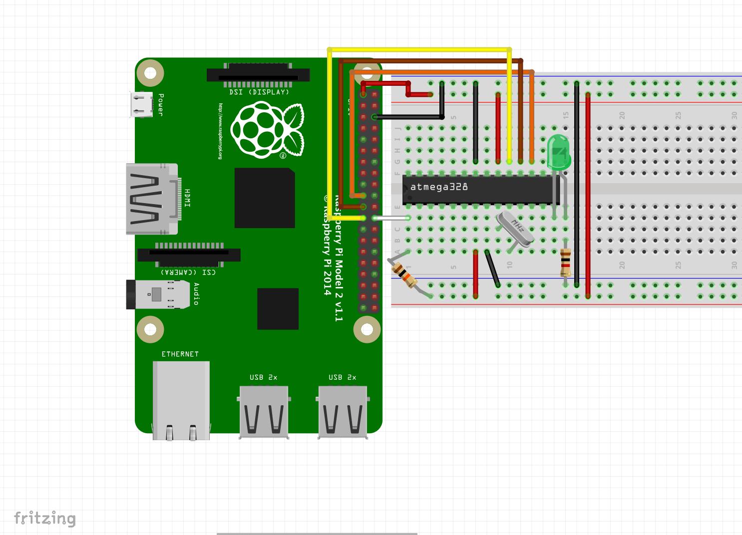 Connecting an ATMEGA328P to a Raspberry Pi